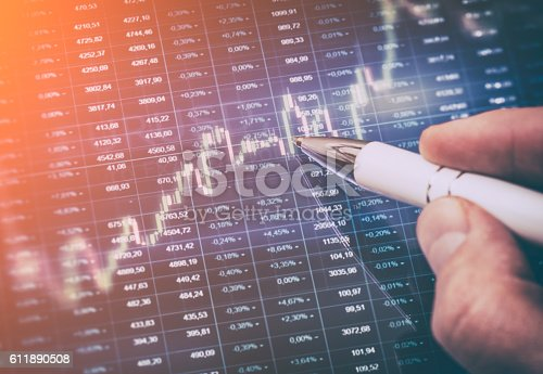 istock Computer monitor with trading software. 611890508