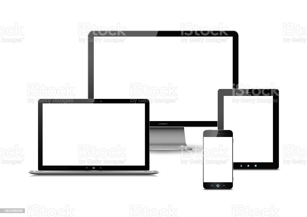 Computer monitor,Digital Tablet, Smart Phone and laptop isolated stock photo