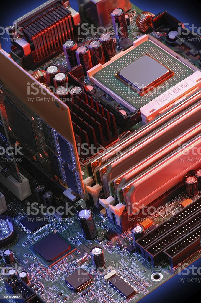 Computer Mother Board showing CPU stock photo