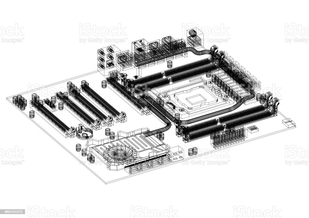 Computer Motherboard Architect blueprint - isolated royalty-free stock photo
