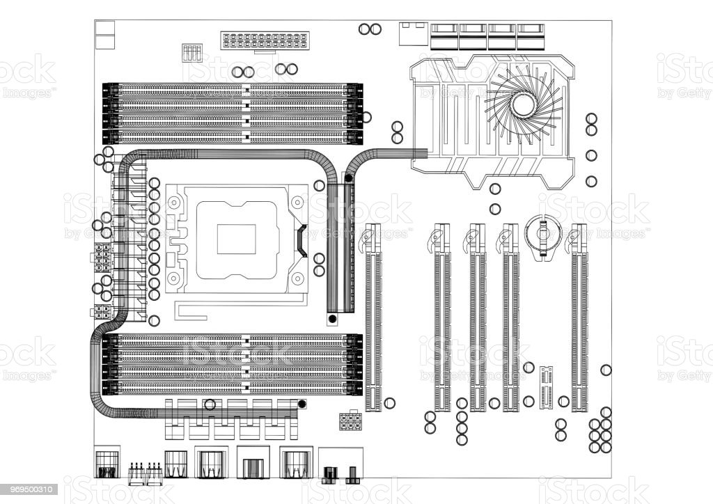 Royalty Free Drawing Of The Motherboard Pictures, Images
