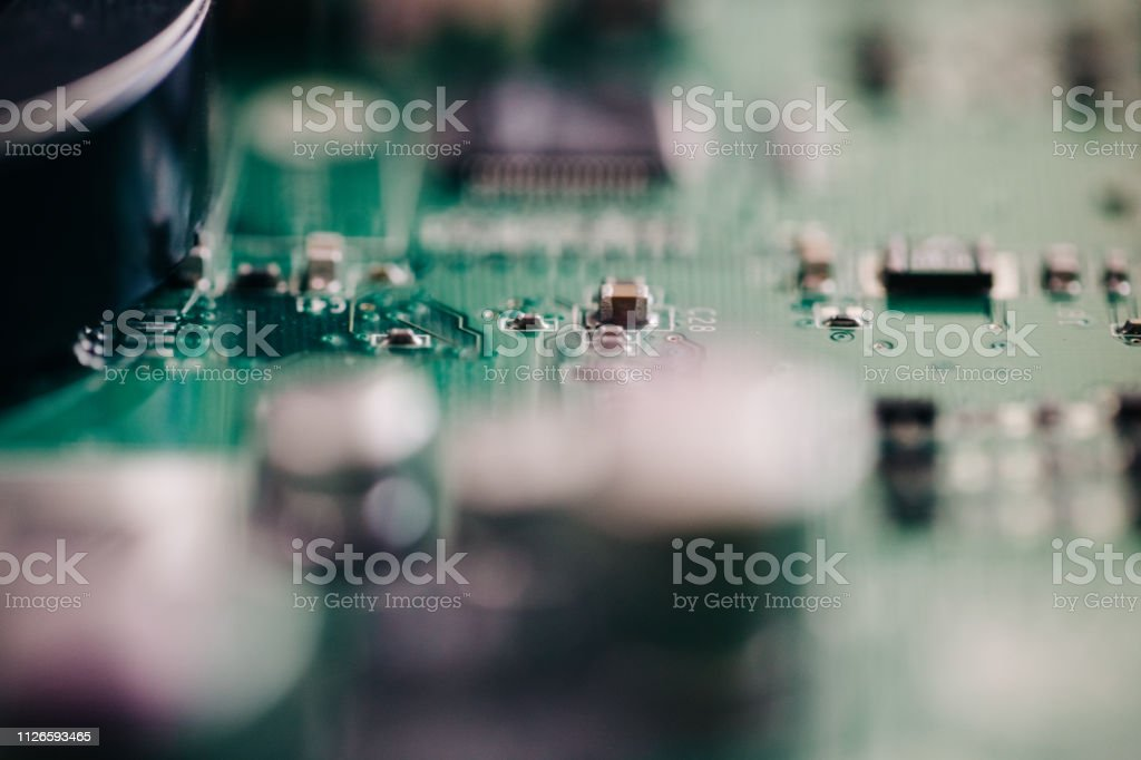 computer motherboard circuitry stock photo