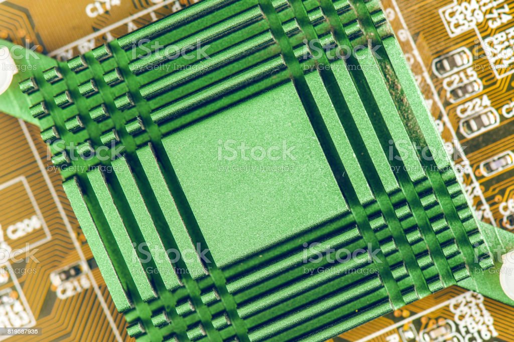 Computer Motherboard Cooling Radiator stock photo