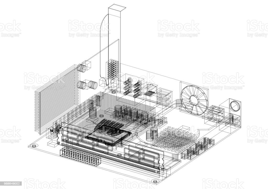 computer motherboard design architect blueprint isolated stock photo