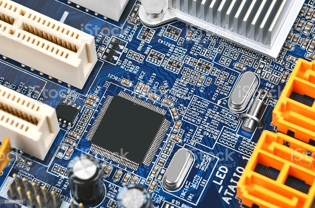 Computer motherboard, DOF stock photo