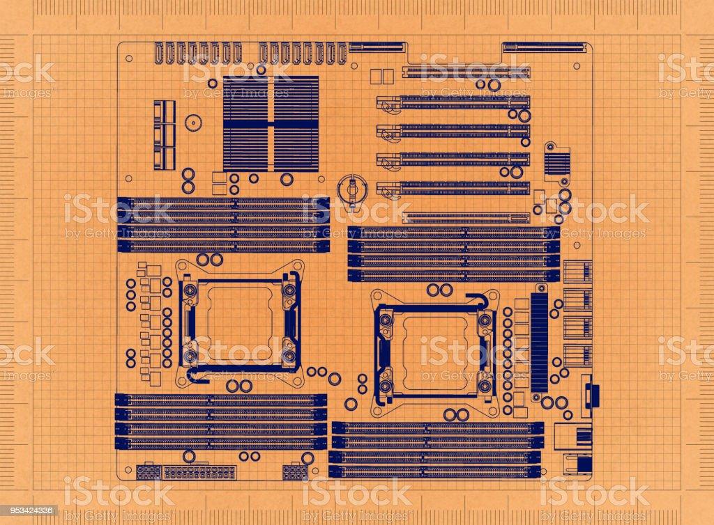 Computer Motherboard - Retro-Blueprint – Foto