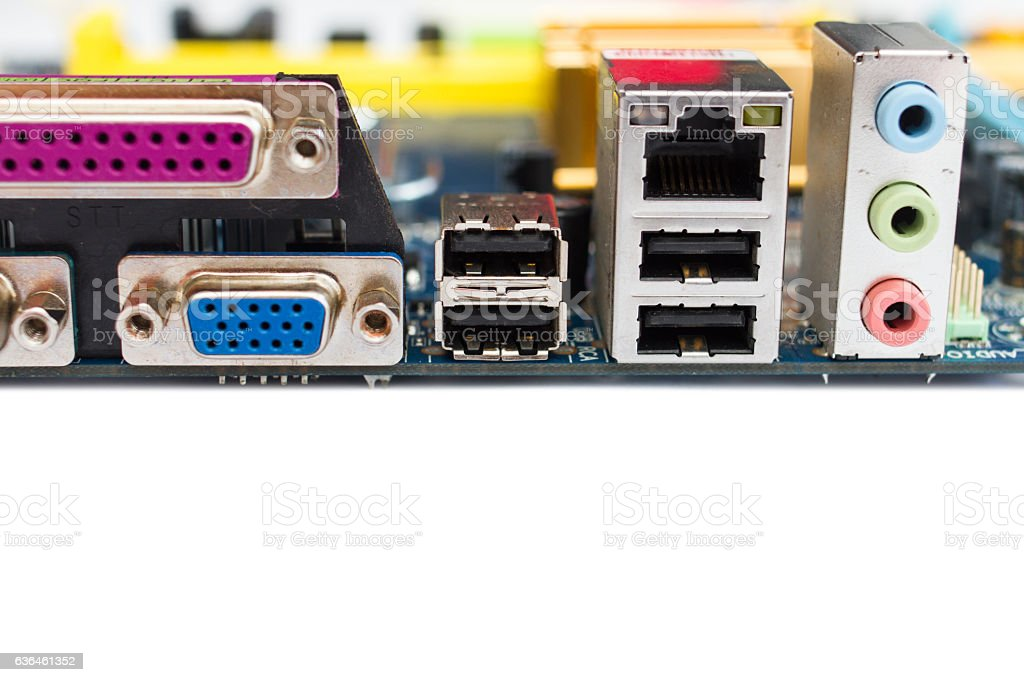 Pc Computer Motherboard Usb Ports Stock Photo - Download