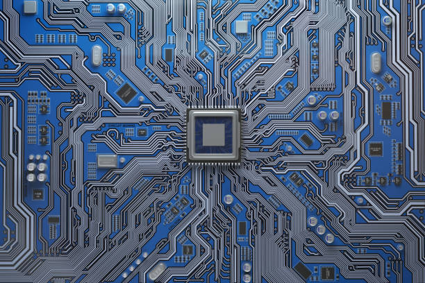 computer motherboard with cpu. circuit board system chip with core processor. computer technology background. - mother board stock pictures, royalty-free photos & images