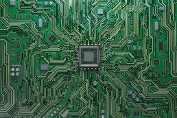 Computer motherboard with CPU. Circuit board system chip with core processor. Computer technology background. Computer motherboard with CPU. Circuit board system chip with core processor. Computer technology background. 3d illustration computer chip stock pictures, royalty-free photos & images