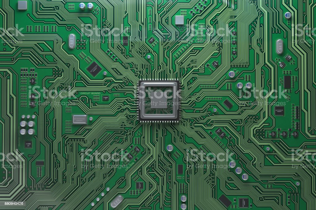 Computer motherboard with CPU. Circuit board system chip with core processor. Computer technology background. stock photo