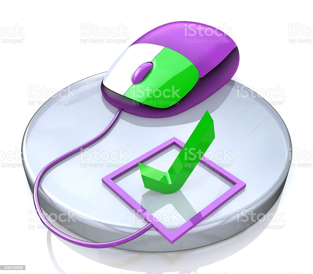 computer mouse and check mark stock photo