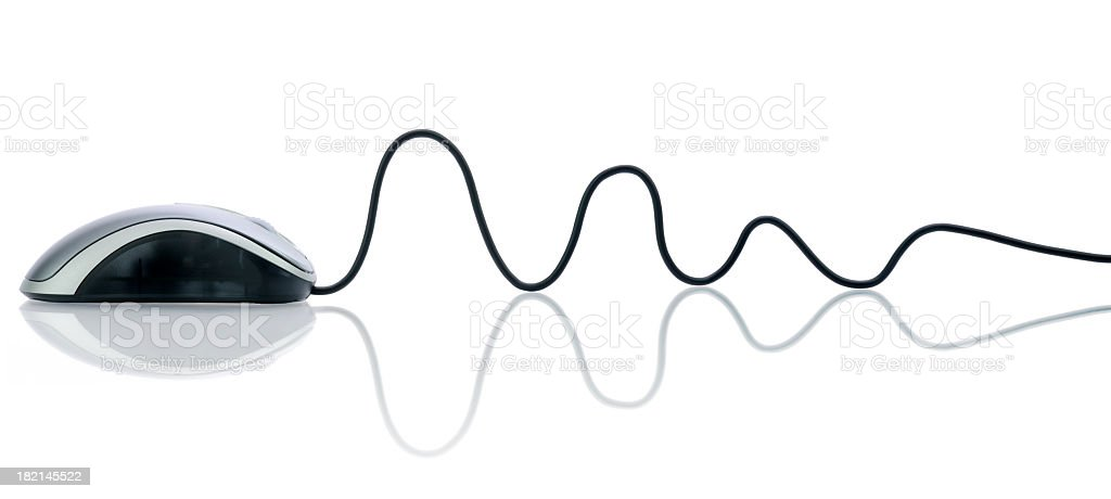 A computer mouse and cord on a white background  royalty-free stock photo