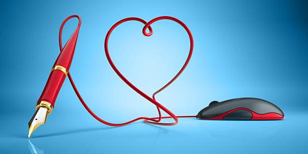 Computer-Maus und Füllfederhalter Liebe Konzept – Foto