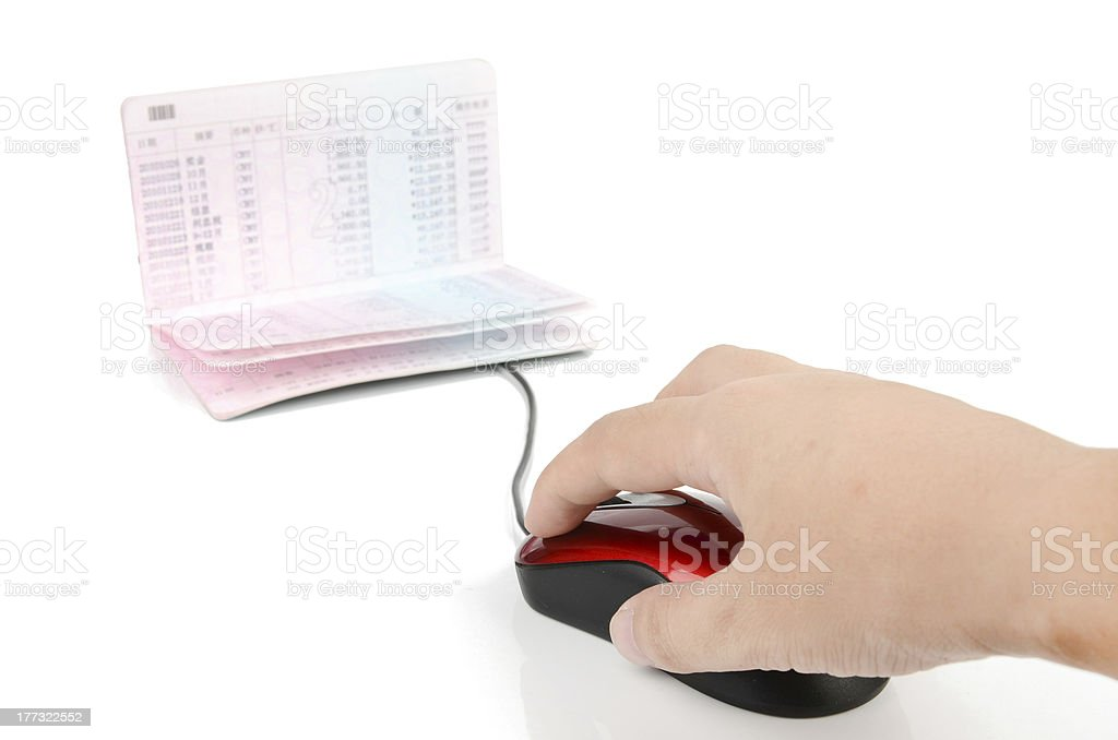 Computer mouse and passbook stock photo