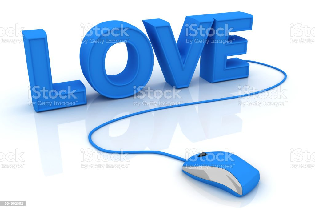 Computer mouse and the word Love royalty-free stock photo