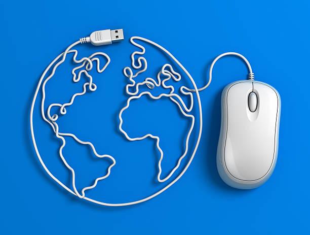 Computer mouse Kabel Welt-Blau – Foto