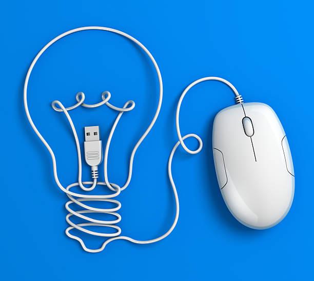 Computer mouse Kabel Glühbirne-Blau – Foto