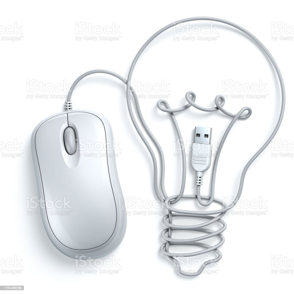 Computer mouse cable lightbulb concept stock photo