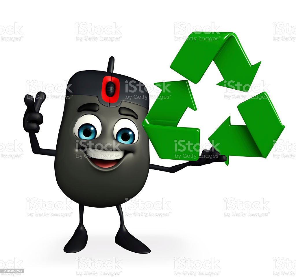 Computer Mouse Character With Recycle Icon Stock Photo - Download