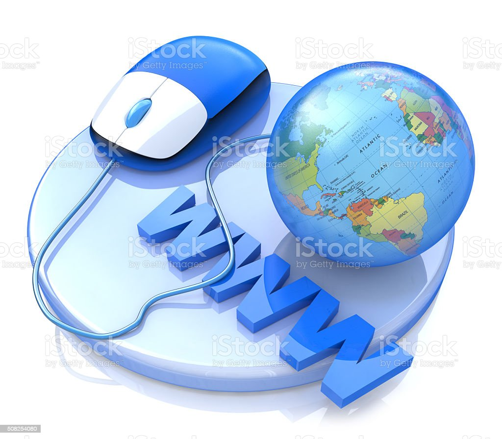Computer mouse connected to a globe. 3d illustration WWW concept stock photo