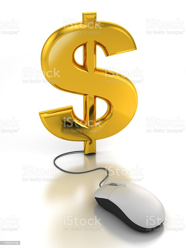 Computer mouse connected to dollar sign - clipping path royalty-free stock photo