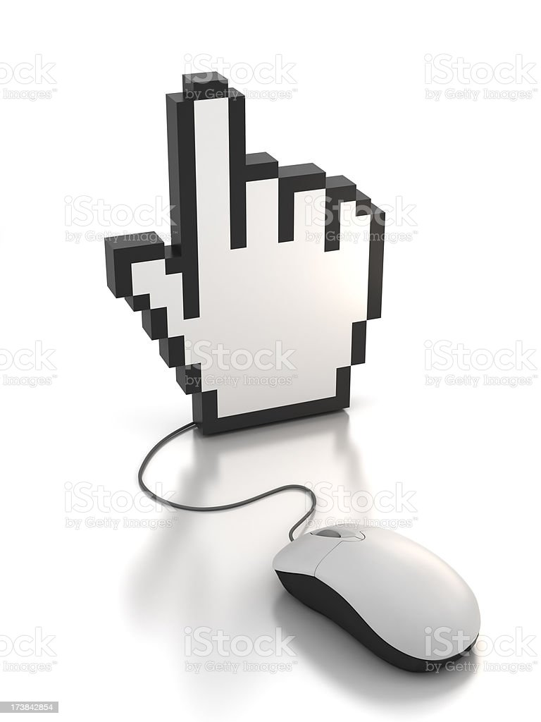 Computer mouse connected to pointer hand - clipping path royalty-free stock photo