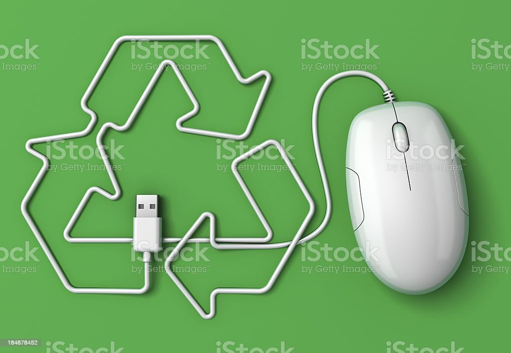 Computer mouse cord recycling symbol – Foto