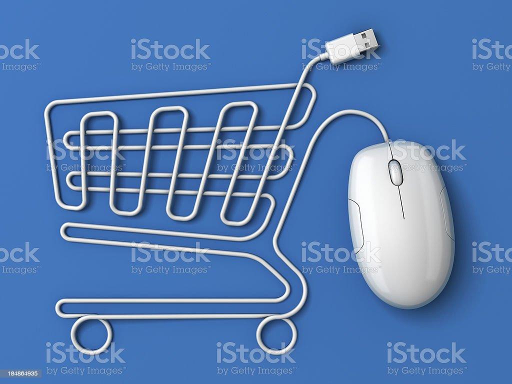 Computer mouse Einkaufswagen-Blau – Foto