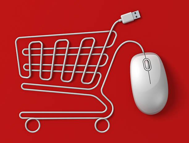Computer mouse Einkaufswagen – Foto
