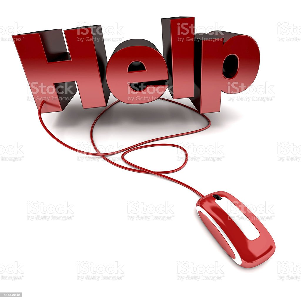 A computer mouse with a wire running into the word 'help' royalty-free stock photo