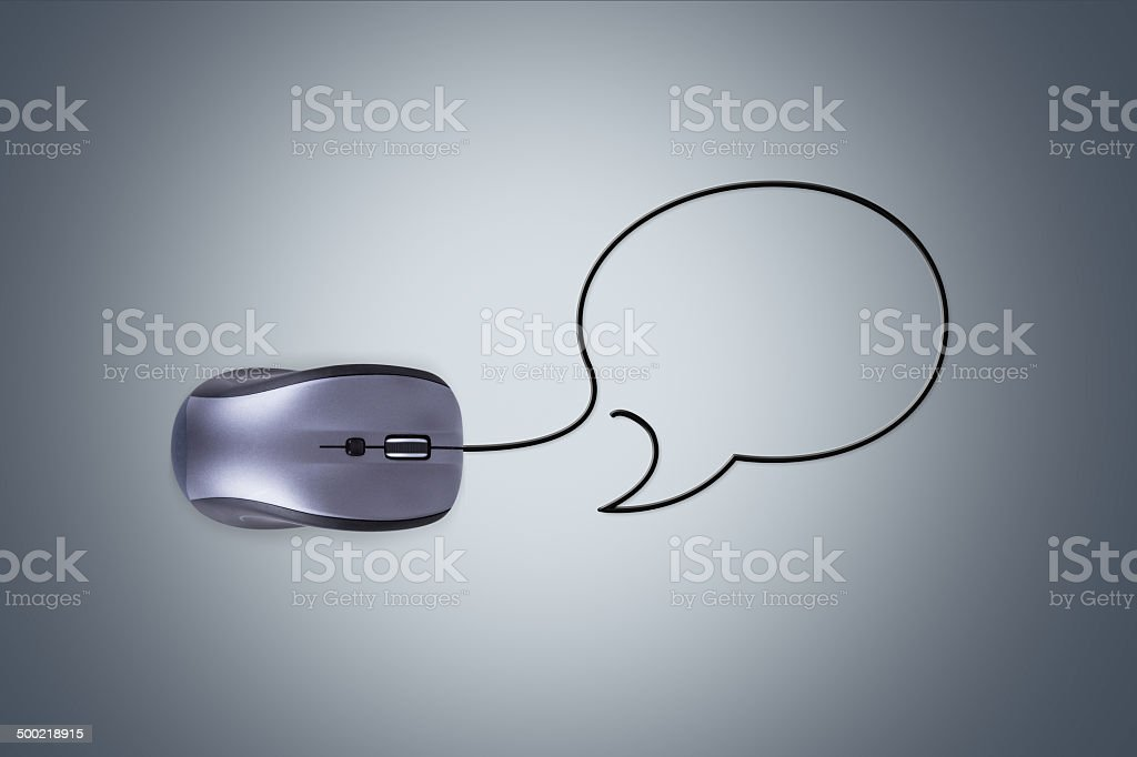 Computer Mouse with Speech Bubble stock photo