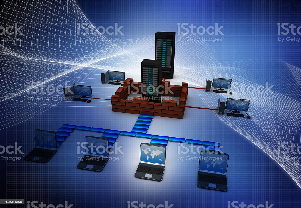Computer Network and internet communication concept stock photo