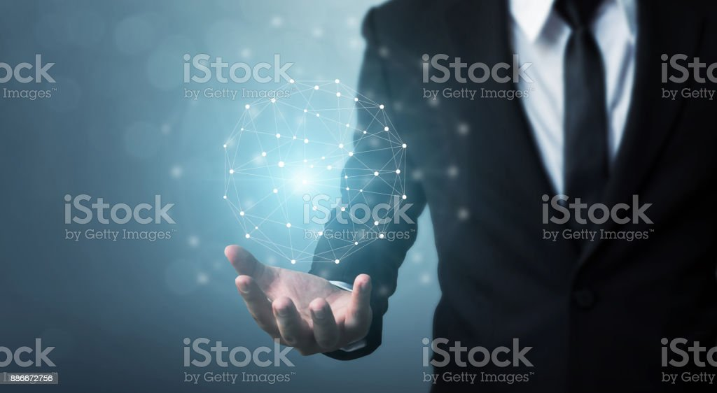 Computer network and internet connection concept, Businessman hand holding network sphere stock photo