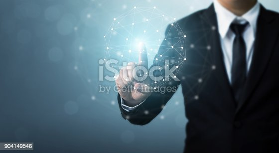istock Computer network and internet connection concept, Businessman hand touching network sphere 904149546