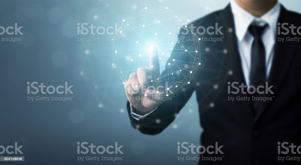 Computer network and internet connection concept, Businessman hand touching network sphere stock photo