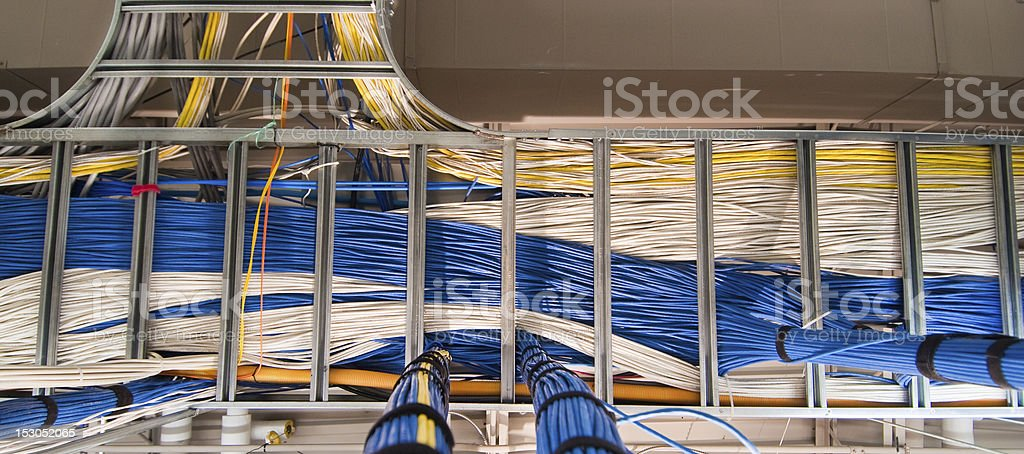 Computer Network cable rack stock photo