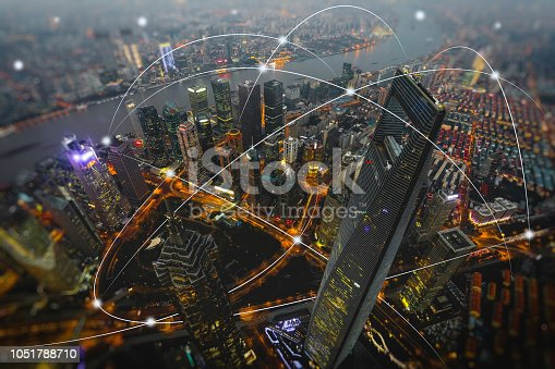 istock Computer network connection modern city future internet technology 1051788710