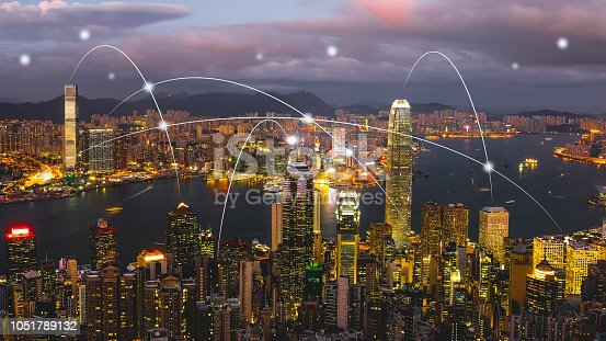 istock Computer network connection modern city future internet technology 1051789132