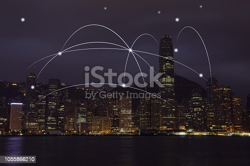istock Computer network connection modern city future internet technology 1055866210