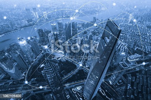 istock Computer network connection modern city future internet technology 1062125404