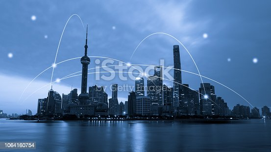 istock Computer network connection modern city future internet technology 1064160754