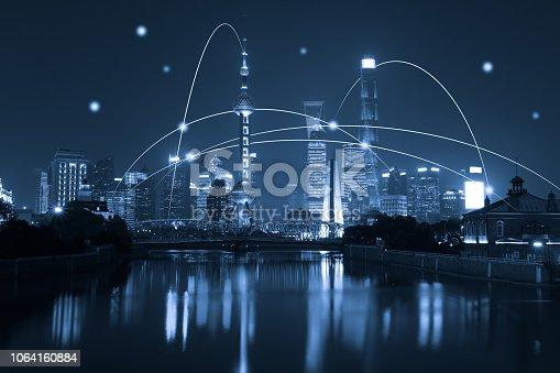 istock Computer network connection modern city future internet technology 1064160884