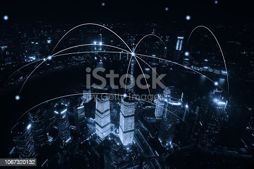 istock Computer network connection modern city future internet technology 1067320132