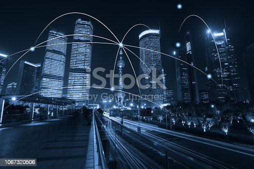 istock Computer network connection modern city future internet technology 1067320506