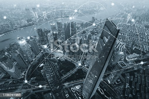 istock Computer network connection modern city future internet technology 1156241983