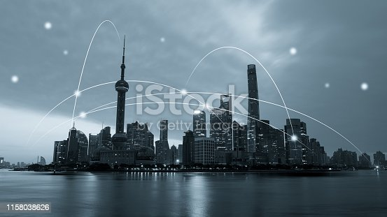 istock Computer network connection modern city future internet technology 1158038626