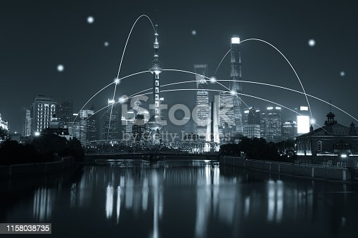 istock Computer network connection modern city future internet technology 1158038735