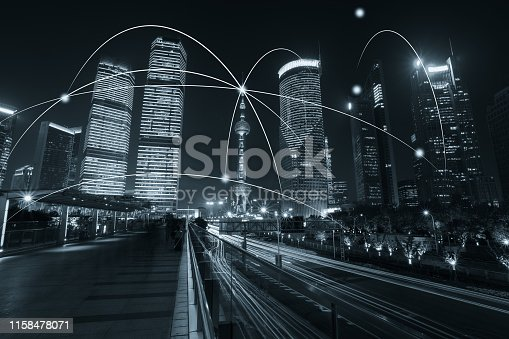 istock Computer network connection modern city future internet technology 1158478071