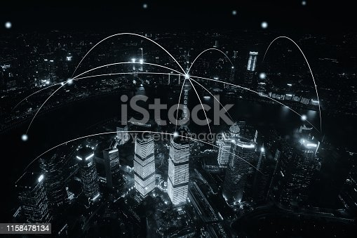 istock Computer network connection modern city future internet technology 1158478134