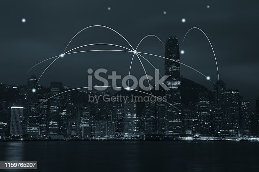 istock Computer network connection modern city future internet technology 1159765207